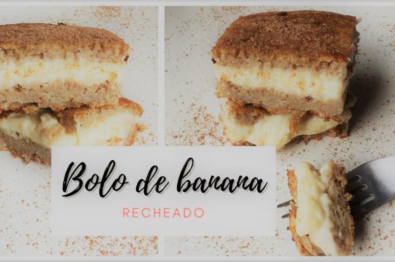 Bolo de Banana Recheado com Creme Branco e Saudável