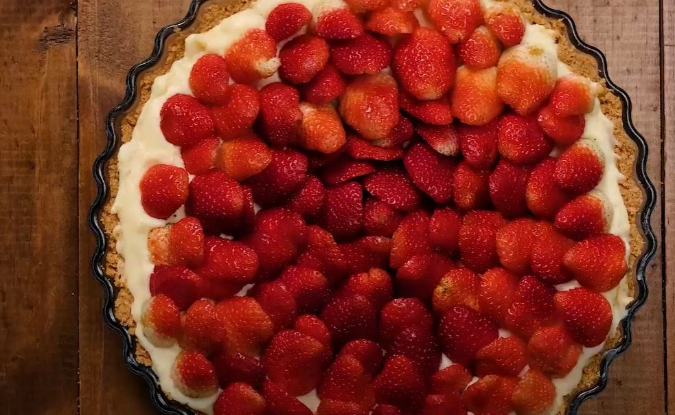 morangos na torta