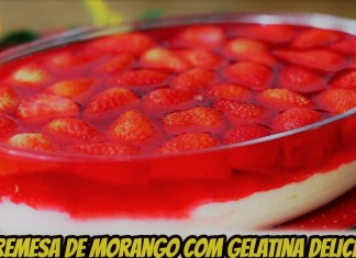 sobremesa de morango com gelatina